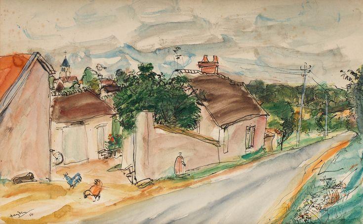 HENRYK HAYDEN (1883 - 1970)  PEJZAŻ, 1950 R.   akwarela, papier / 30,5 x 49 cm