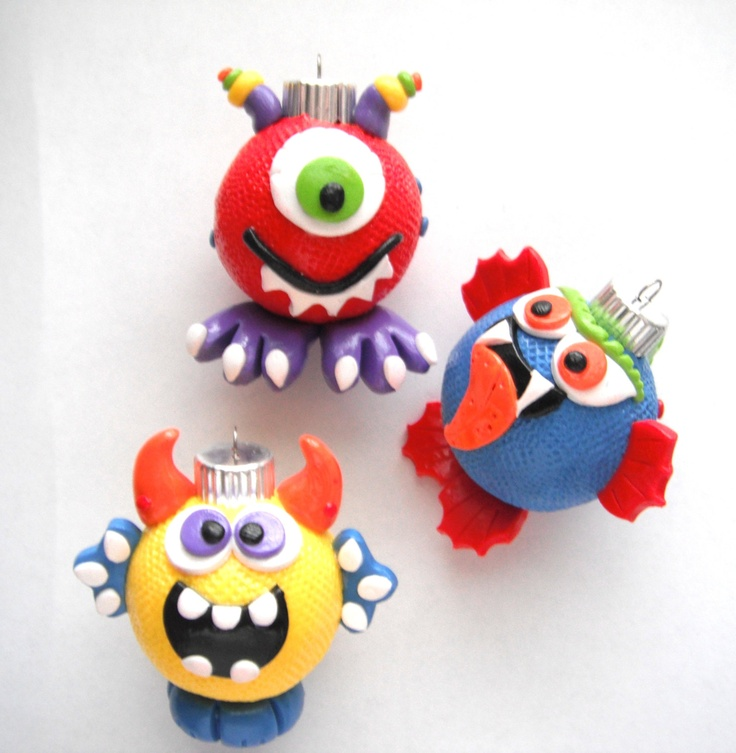Ornaments Little Monsters handmade glass polymer clay christmas ornaments ( 3 ). $27.00, via Etsy.