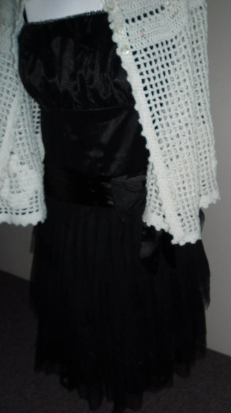 Satin And Tulle Dress with Crochet Matinee Jacket.