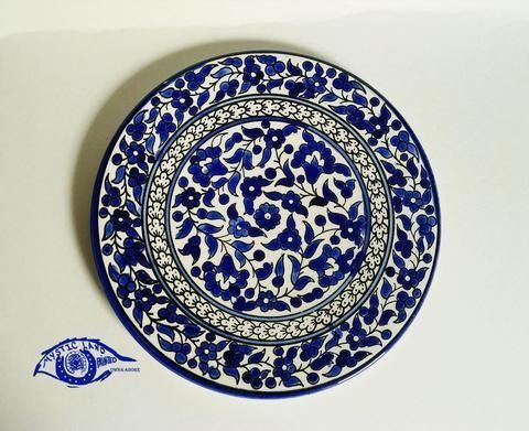 Ceramic Blue Floral  Plate_ Mystic Land Palestinian Earthenware _ Hand made