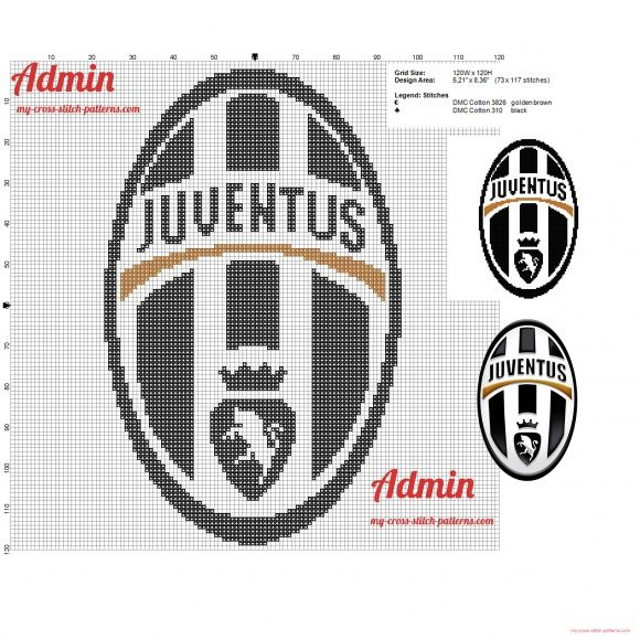 Logo de Juventus Football Club grille point de croix