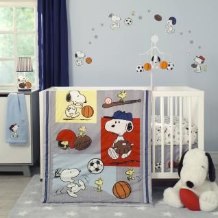 Snoopy is every baby's favorite beagle, and now he and his sidekick, Woodstock can join your baby in a fun filled sport themed nursery. All items in this playful collection come in hues of blues and grays with accents of red and yellow.