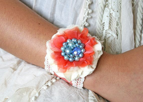 Fabric Cuff Bracelet Coral and Blue Textile door rosyposydesigns, $38.00