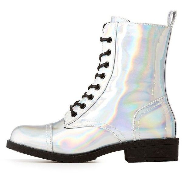 Wild Diva Lounge Holographic Combat Boots ($20) ❤ liked on Polyvore featuring shoes, boots, ankle booties, silver, chunky lace up boots, combat boots, combat booties, chunky-heel boots and block heel boots