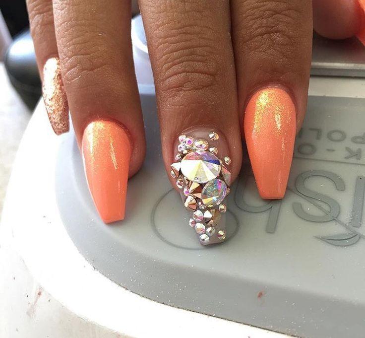 Coral Nails Glitter Nails Orange Nails