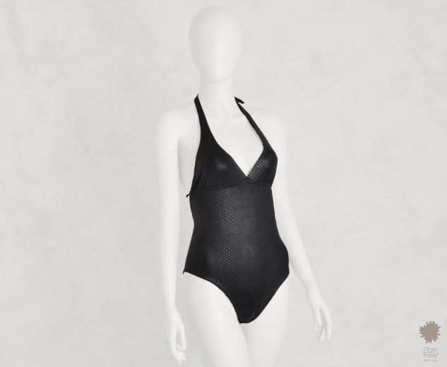 WIld Lady Black One Piece Beachwear - One-piece v-neck swimsuit in microfiber, python laminate reversible solid color