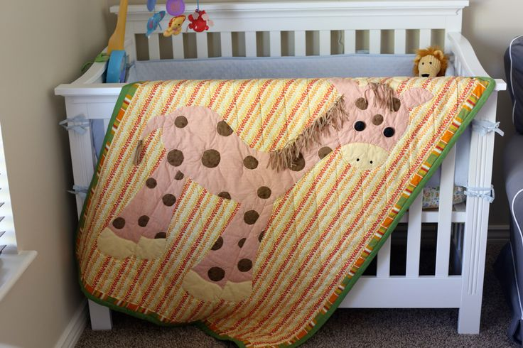 Hand Quilted and Hand Applique Giraffe Baby Quilt. by downtheroaddesigns on Etsy https://www.etsy.com/listing/164828948/hand-quilted-and-hand-applique-giraffe