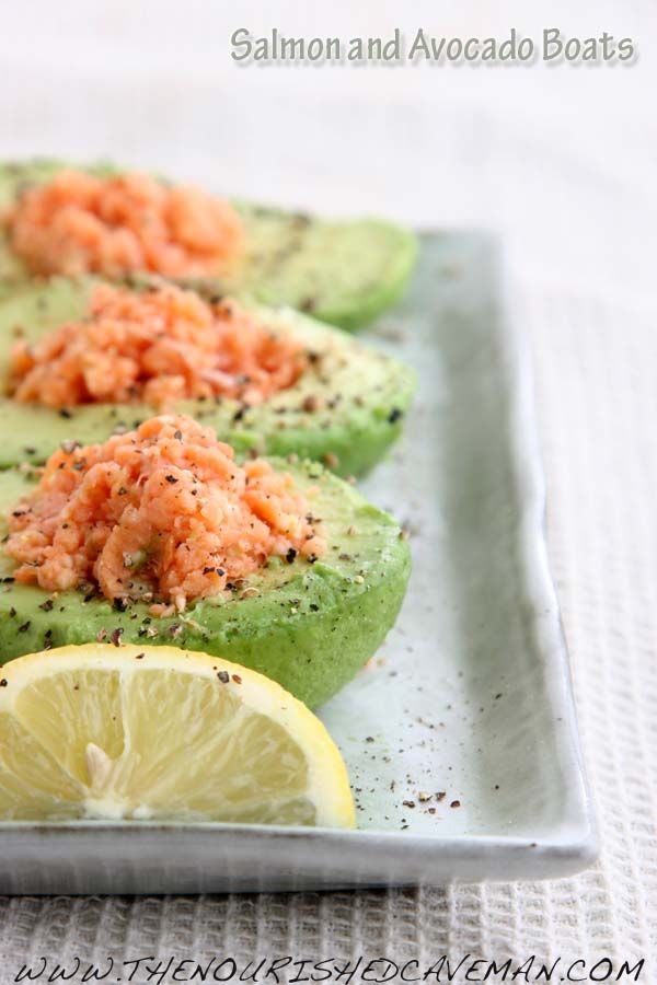 Avocado stuffed with smoked salmon and goat cheese