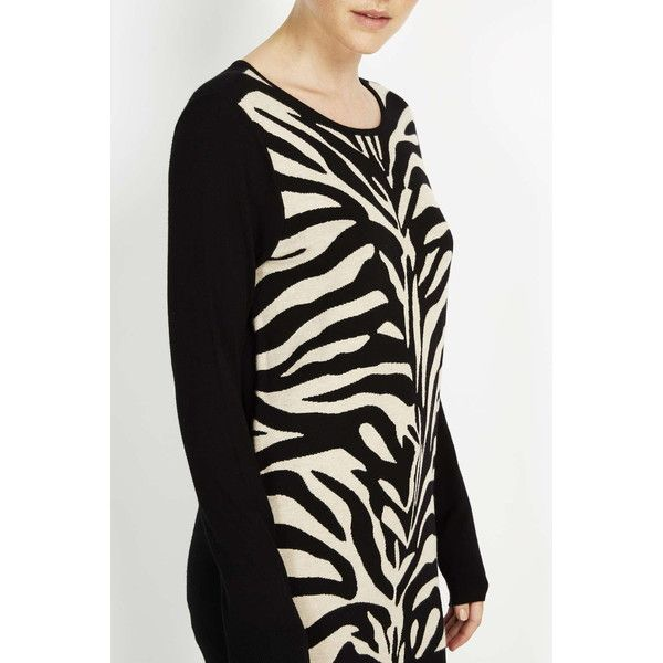 Black Animal Print Jumper ($39) ❤ liked on Polyvore featuring tops, sweaters, black, jumpers sweaters, jacquard sweater, animal print sweater, jumper top and animal print tops