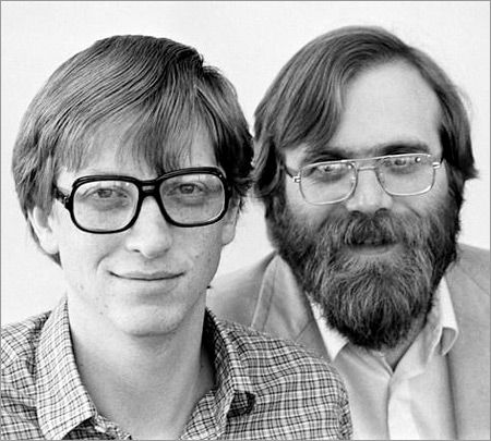 1975: Bill Gates and Paul Allen create a partnership called Micro-soft... Gates and Allen had been buddies and fellow Basic programmers at Lakeside School in Seattle. Allen graduated before Gates and enrolled at Washington State University. They built a computer based on an Intel 8008 chip and used it to analyze traffic data for the Washington state highway department, doing business as Traf-O-Data. Microsoft stock went public in March 1986. the rest, as they say, is history.