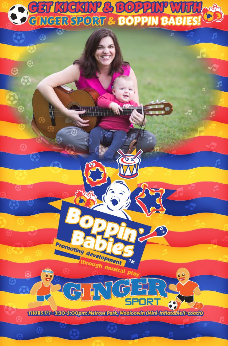 Bop along to Melrose Park at Wooloowin tomorrow for Music in the Park with our good friends at Ginger Sport #boppinbabies #musicinthepark #musicalplay