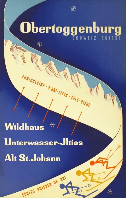 Plakat für Wintersport im Obertoggenburg.