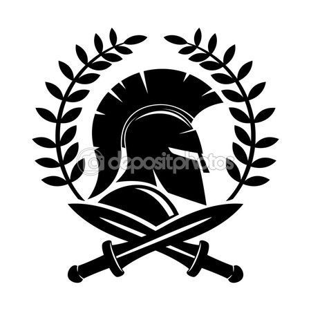 Casco espartano y espadas cruzadas — Ilustración de stock ...