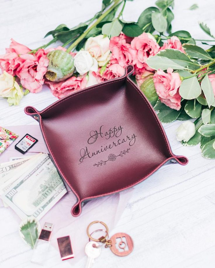 Leather anniversary gift for wife leather tray