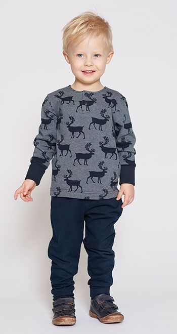 Stretch jersey blå melange med hjorte - Stof & Stil
