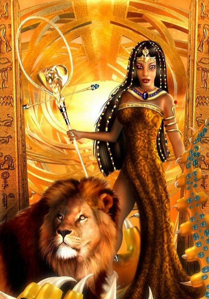 Открытка женщина лев