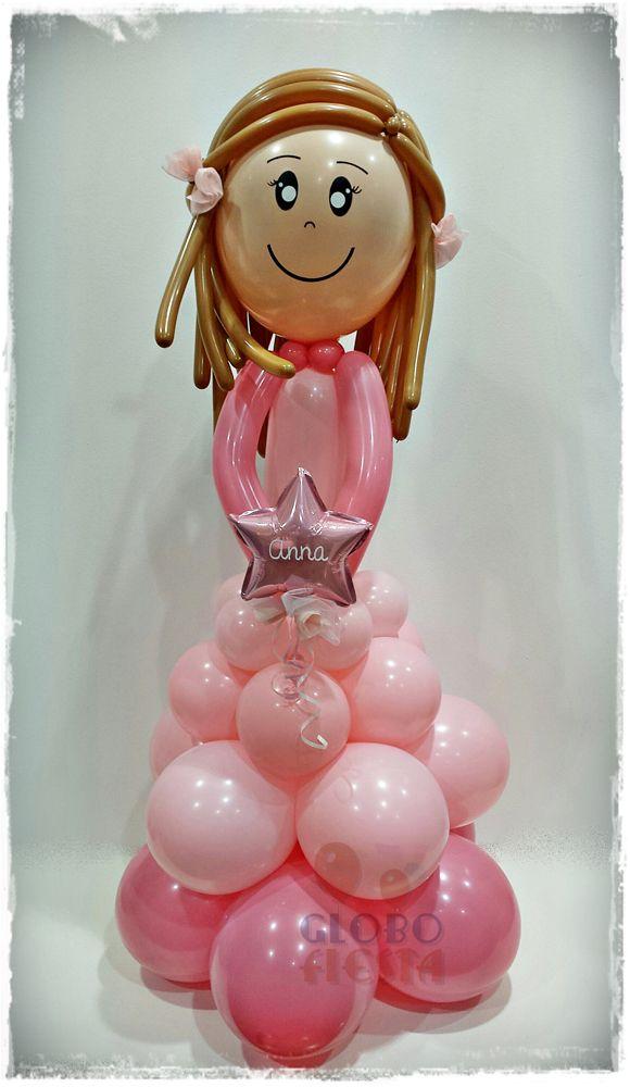 www.globofiesta.com #muñeca de #comunión realizada con #globos, e #rosa, nos encanta!