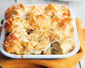 Chicken, vegetable and mushroom pie