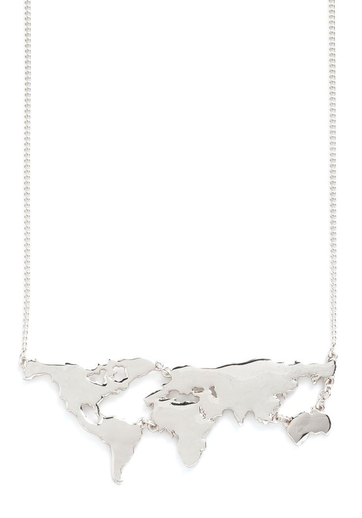 There's a Map for That Necklace in Silver, #ModCloth
