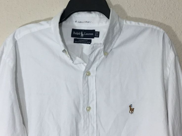 Polo Ralph Lauren Mens Size16 1/2 -35 Yarmouth Pinpoint Oxford Long Sleeve White #PoloRalphLauren
