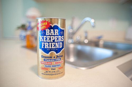 Bar Keepers Friend + scouring pad - keeping the sink spotless/shiny.
