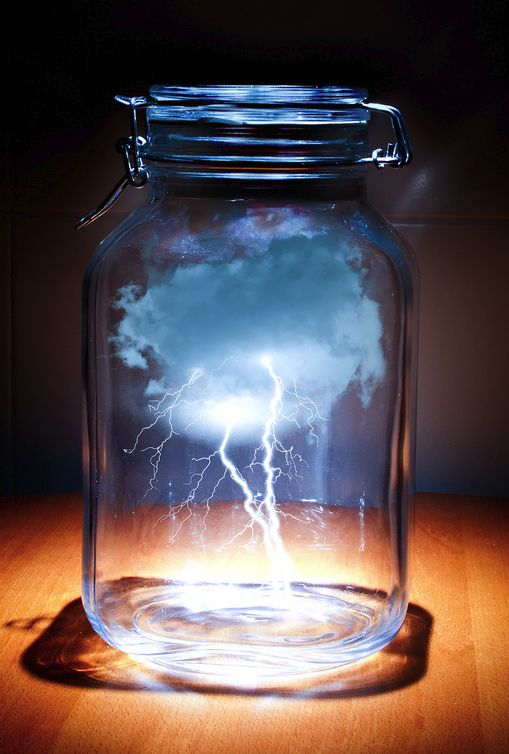 Artist unknown, lightening in a bottle reflects mans attempt to control the elements and prevent them wrecking modern day society (I.e. floods, storms, tornadoes).