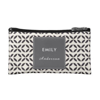 Abstract Geometric Mosaic Tile  Small Cosmetic Bag - pattern sample design template diy cyo customize