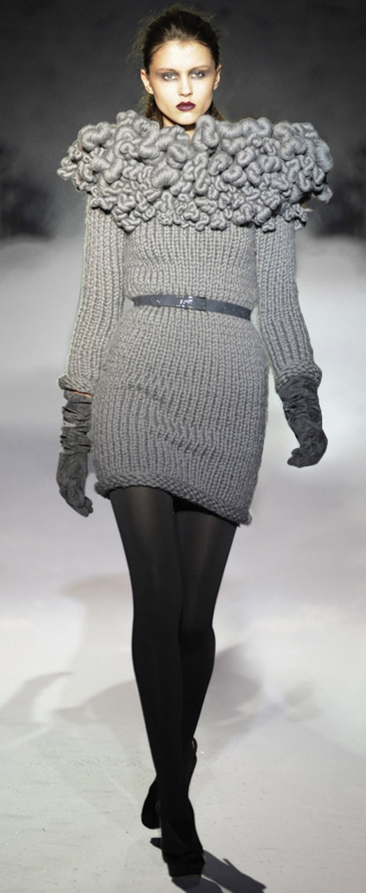 Textiles for Fashion - knitted dress with twisted texture detail; sculptural textiles manipulation
