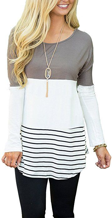 559211e393c Hount Womens Back Lace Color Block Tunic Tops Long Sleeve T-Shirts Blouses  with Striped Hem (Large