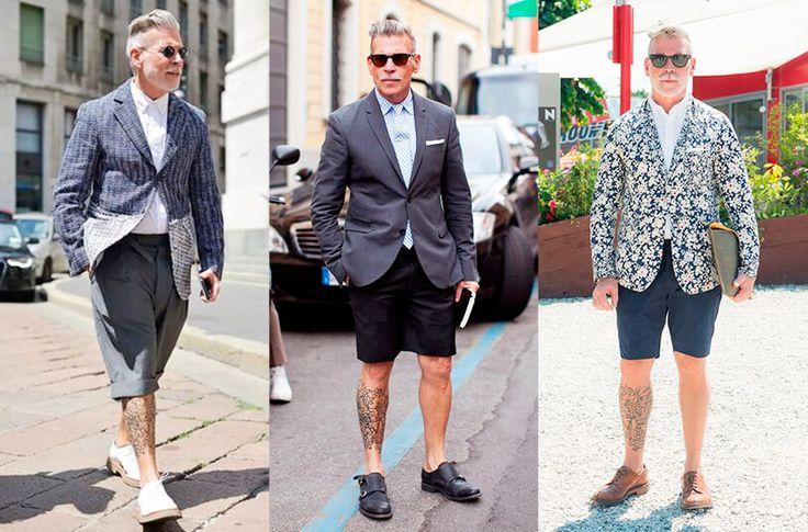 En la imagen aparece Nick wooster vistiendo distintos looks en algodón usando bermudas