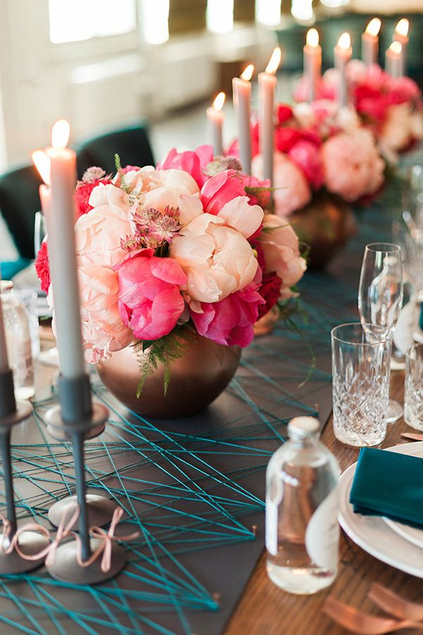 Fuchsia and Blush Peonies in Copper Vessels | Ashley Ludaescher Photography | Rose Gold and Peony - Modern Metallic Wedding Shoot in Teal and Copper
