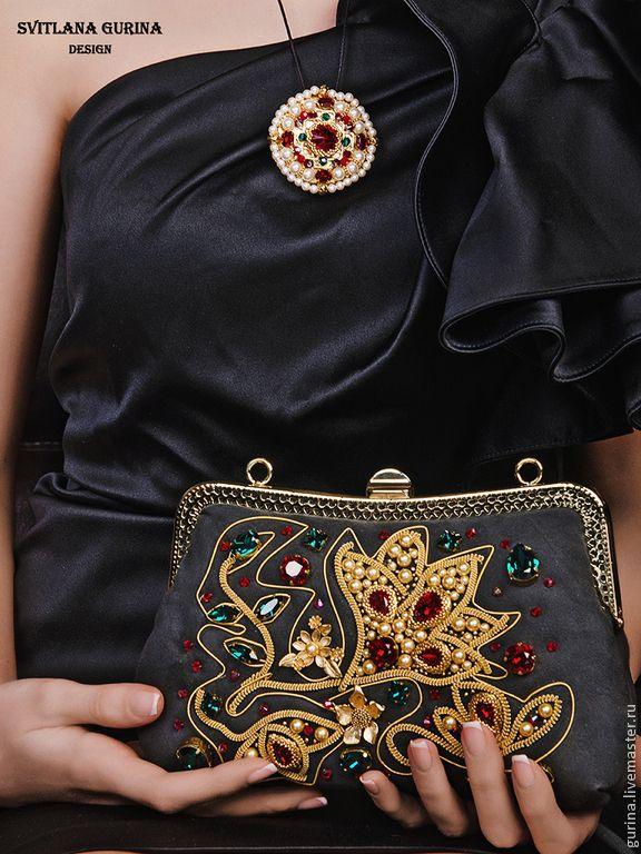 Купить Коллекционная вечерняя сумочка с вышивкой Цветок Красный в Золоте - золотой, кожаные сумки