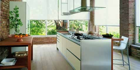 Kitchen:Modern Kitchen Simple Counter Top Chair $200 Pergo Simple Solutions Residential Laminate Flooring Brick Wall Glass Screen Windows Wh...