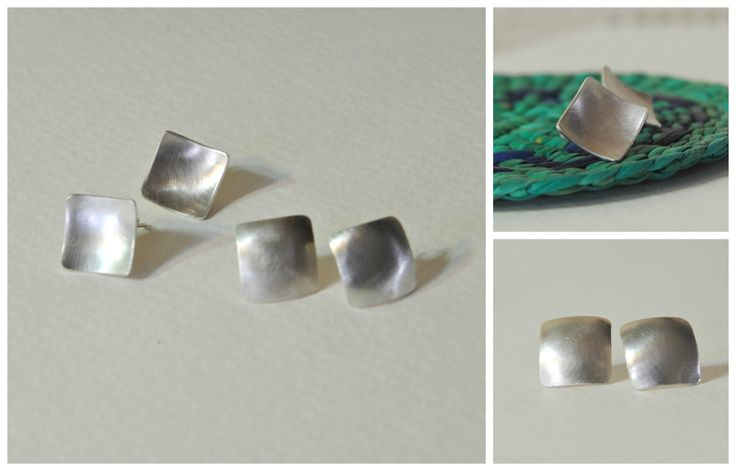 Little square earrings - tiny silver square domed studs - modern style - concave convex