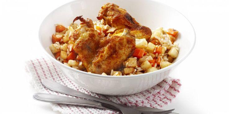 Boodschappen - Gebakken rijst met knolgroenten en kippenvleugeltjes