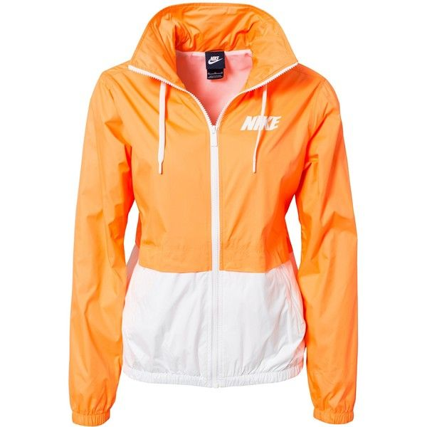 Nike City Blocker Jacket ($70) ❤ liked on Polyvore featuring outerwear, jackets, tops, coats & jackets, orange, sports fashion, womens-fashion, orange sports jacket, hooded jacket and hooded zip jacket