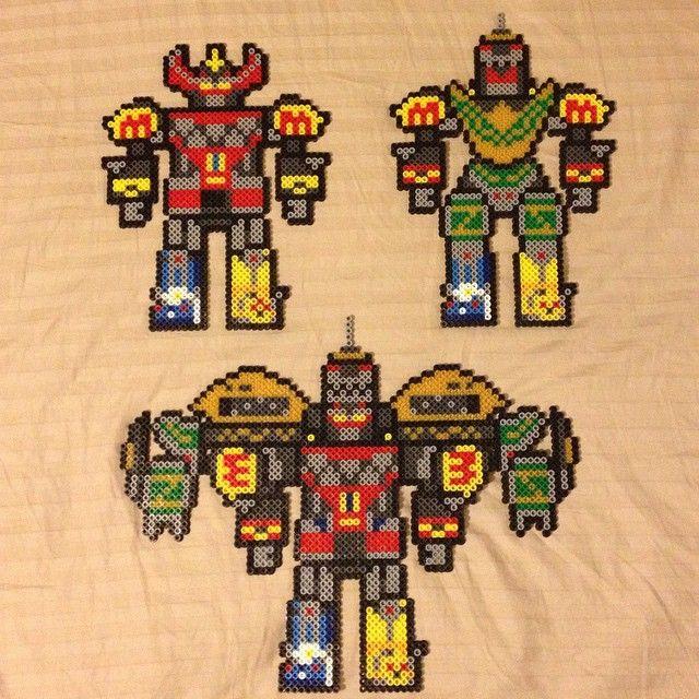 Megazord, Dragonzord battle mode and Mega Dragonzord - Power Rangers perler beads by balrog3019