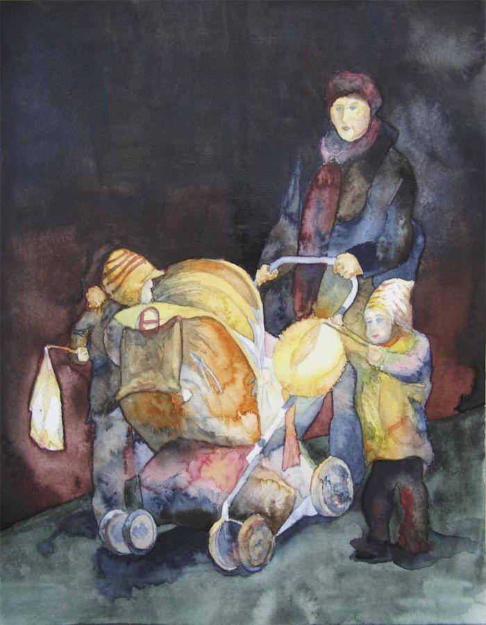 In der Nacht leuchten viele Motive ganz besonders | Laternenkinder (c) Aquarell von Frank Koebsch