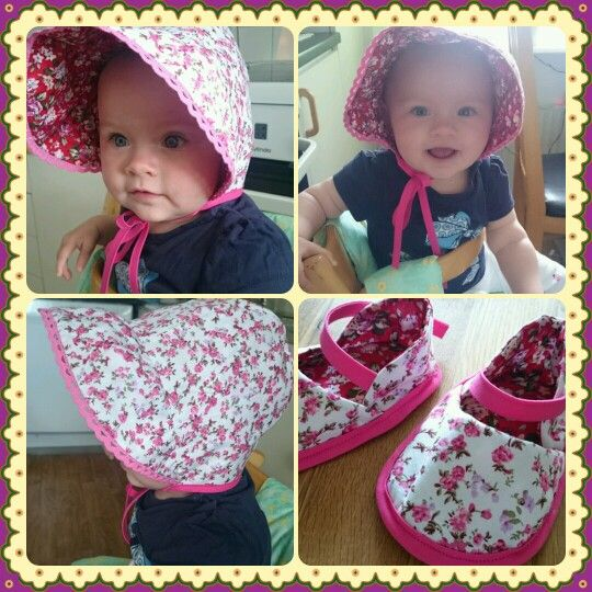 I sewed Baby Sun Bonnet and matching shoes for my daughter <3