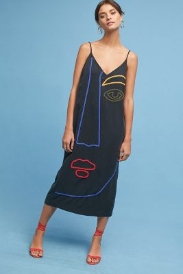 Anthropologie Mara Hoffman Abstract Face Slip Dress