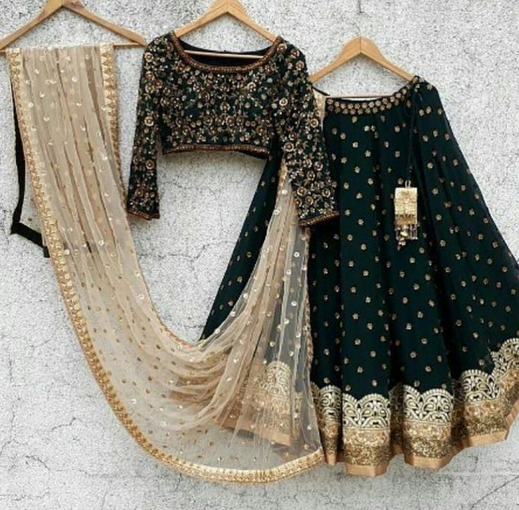 You know you would slay if you turned up wearing this - what a stunning black and gold embroidered lehenga ghagra choli with contrast sheer dupatta