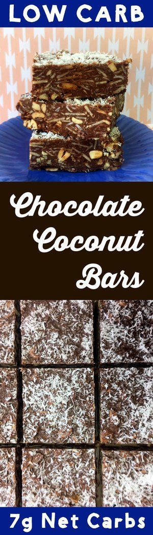 This tasty low carb dessert has only 7g net carb per slice. The chocolate coconut bars are Atkins, Banting, THM, LCHF, Keto, Sugar Free and Gluten Free compliant. And they taste like Almond Joy to boot. #Lowcarb #lowcarbdiet #keto #ketogenic #LCHF #diet #best #glutenfree #sugarfree #healthy