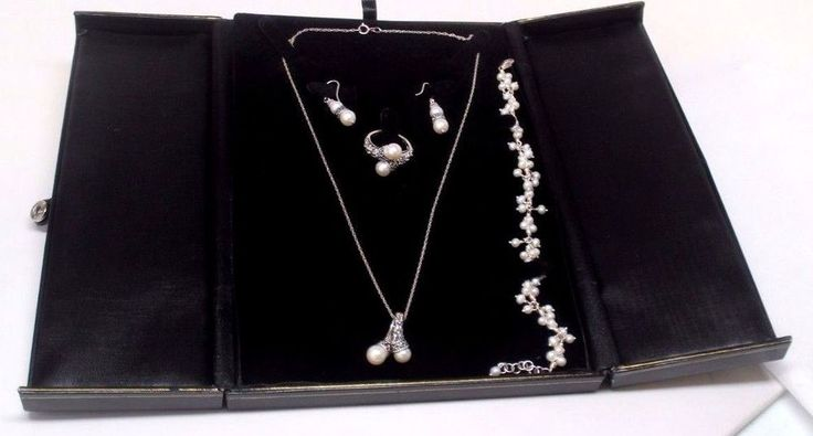 Freshwater Pearl Bypass set- Earrings, Ring, Necklace & Pendant, Bracelet SILVER #Unbranded
