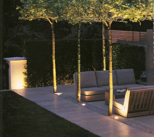 Outdoor lighting   garden and lounge come alive through the repeated pattern of light and nature!  #PinterestandDesignWeek