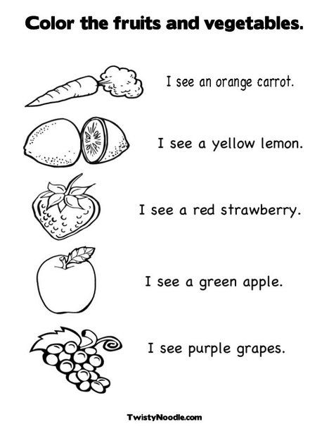 Color the fruits and vegetables. Coloring Page and worksheet from TwistyNoodle.com