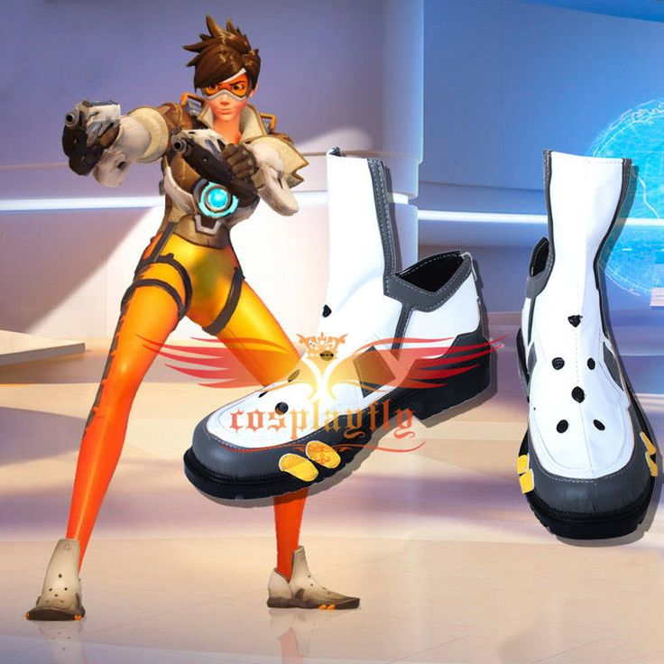 OW Overwatch Tracer Cosplay Shoes Lena Okston Black White Shoes Custom Made #Handmade