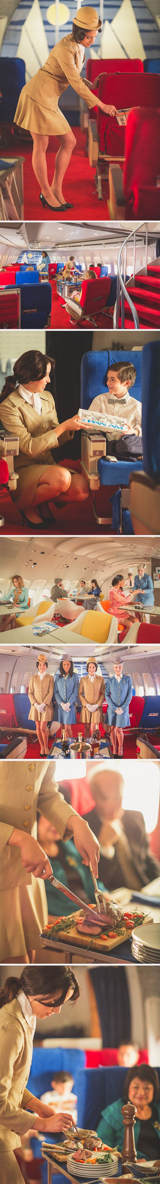Pan Am in the 1960's.  My dad worked for the airlines, and I remember being bumped up to first class on a 747 several times.  Prime rib, little glass salt and pepper shakers, hot fudge sundaes made to order, and steaming towels to wash your hands and face.  To get anywhere near that level of service today, I'd have to mortgage my house.