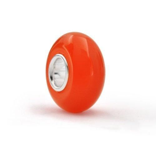 Bling Jewelry Opaque Orange Murano Glass Bead Silver Pandora Compatible