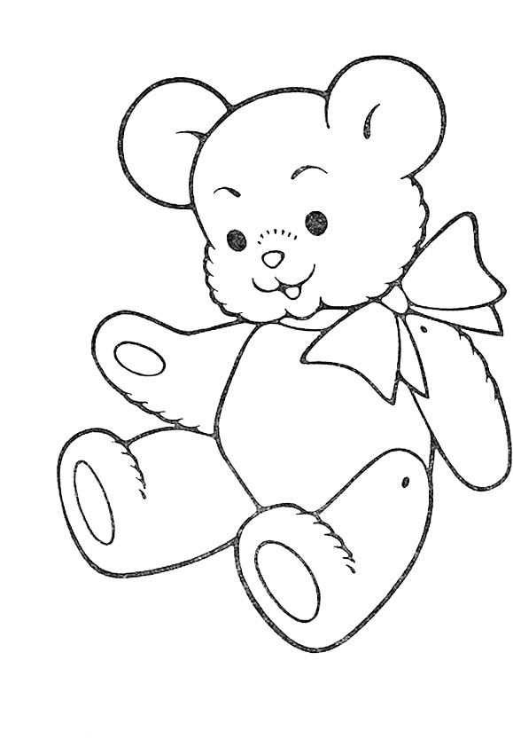 Cute Teddy Bear Coloring For Kids