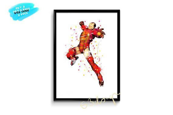Iron Man Watercolor Poster Avengers Watercolor Print Iron Man